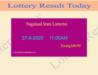 Nagaland State Lottery Sambad Result 27.9.2020 - Live @ 11:00AM