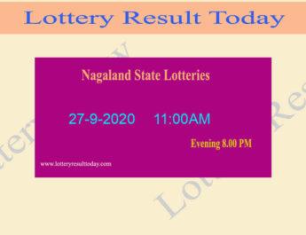 Nagaland State Lottery Sambad Result 27.9.2020 - Live @ 11:00AM