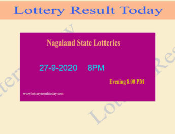 Nagaland State Lottery Sambad Result 27.9.2020 - Live @ 8PM