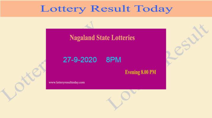 Nagaland State Lottery Sambad Result 27.9.2020 - Live @ 8PM