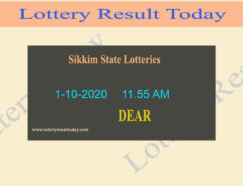 Sikkim State Lottery Sambad (11.55 AM) Result 1.10.2020 {Live@11:55AM}