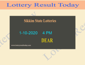 Sikkim State Lottery Sambad Result 1.10.2020 (4 PM) - Live @ 4PM