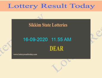 Sikkim State Lottery Sambad Result 16-09-2020 (11.55 AM) - Live @ 11:55AM