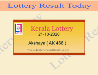 21-10-2020 Akshaya Lottery Result AK 468 - Kerala Lottery Live @ 3PM