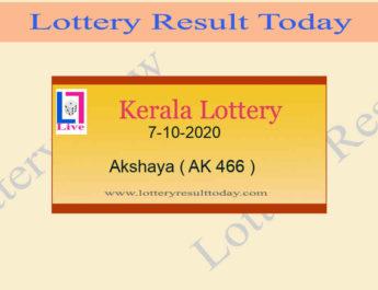 7-10-2020 Akshaya Lottery Result AK 466 - Kerala Lottery Live @ 3PM