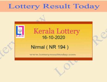 Kerala Lottery Result 16-10-2020 Nirmal NR 194