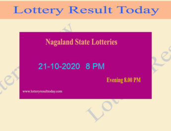 Nagaland State Lottery Sambad Result 21.10.2020 Live @ 8 PM