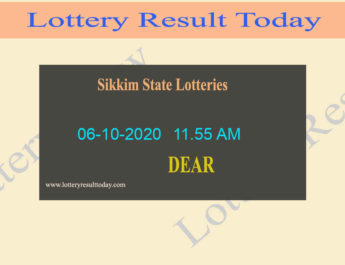 Sikkim State Lottery Sambad (11.55 AM) Result 06.10.2020 {Live@11:55AM}
