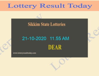 Sikkim State Lottery Sambad (11.55 AM) Result 21.10.2020 Live