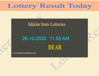 Sikkim State Lottery Sambad (11.55 AM) Result 26.10.2020 Live