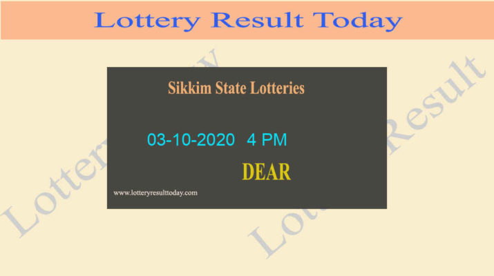 Sikkim State Lottery Sambad Result 03.10.2020 (4 PM) - Live @ 4PM
