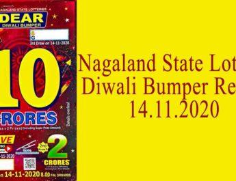 Nagaland Diwali Bumper Lottery Result 14.11.2020 - Sambad Lottery 8 PM