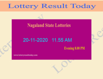 Nagaland State Lottery Sambad (11.55 AM) Result 20.11.2020 Live