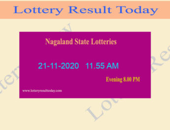 Nagaland State Lottery Sambad (11.55 AM) Result 21.11.2020 Live