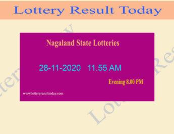 Nagaland State Lottery Sambad (11.55 AM) Result 28.11.2020 Live