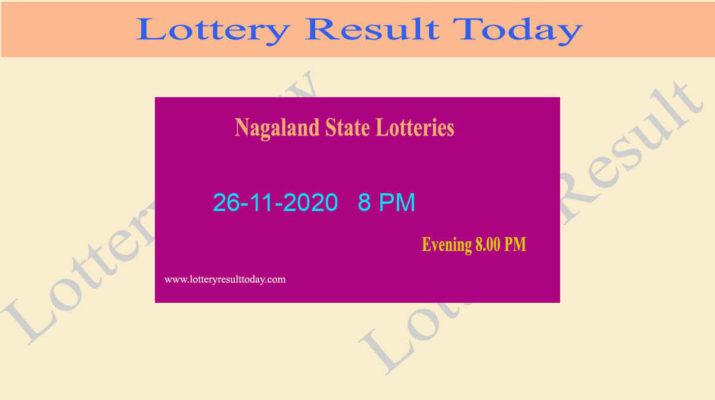 Nagaland State Lottery Sambad Result 26.11.2020 Live @ 8 PM