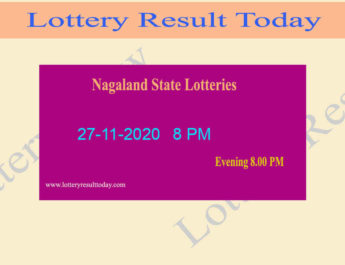Nagaland State Lottery Sambad Result 27.11.2020 Live @ 8 PM