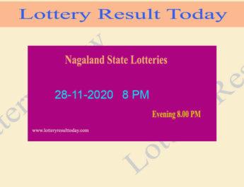 Nagaland State Lottery Sambad Result 28.11.2020 Live @ 8 PM