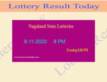 Nagaland State Lottery Sambad Result 9.11.2020 Live @ 8 PM