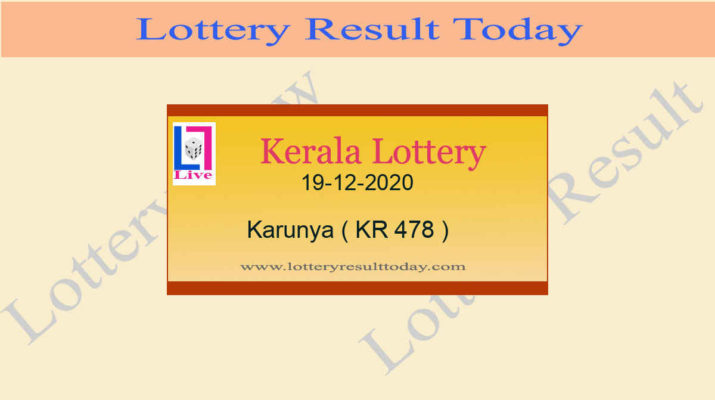 19.12.2020 Karunya Lottery Result KR 478 - Kerala Lottery {Live @ 3PM}
