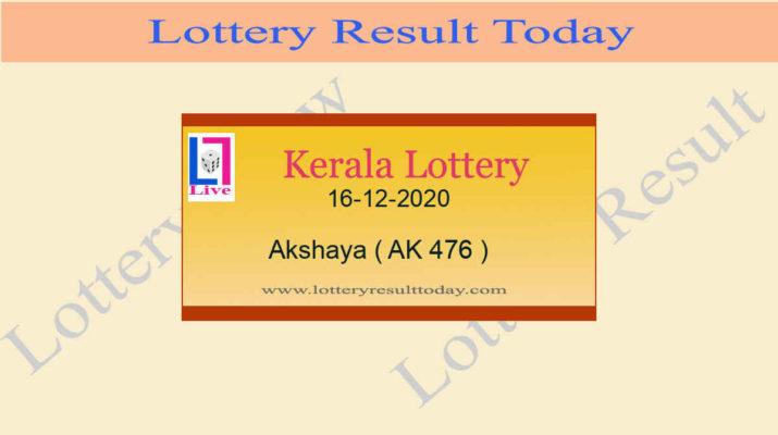 Akshaya AK 476 Lottery Result 16.12.2020 Today Live