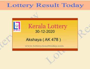 Akshaya AK 478 Lottery Result 30.12.2020 Today Live