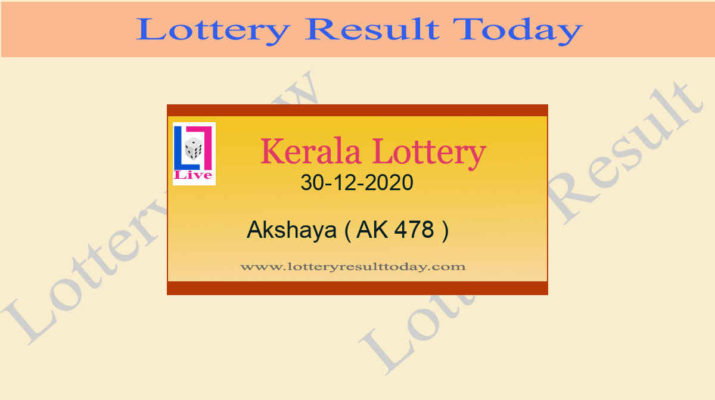 Akshaya AK 478 Lottery Result 30.12.2020 Today Live