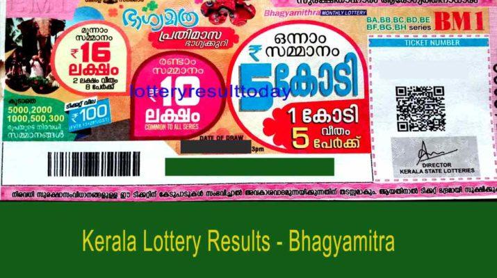 Kerala Lottery Bhagyamitra Monthly Result BM 5 4.4.2021