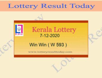 Kerala Lottery Result 7-12-2020 Win Win Result W 593 Live @ 3PM