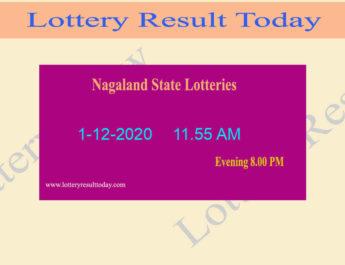 Nagaland State Lottery Sambad (11.55 AM) Result 1.12.2020 Live