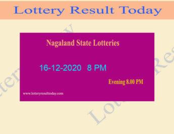 Nagaland State Lottery Sambad Result 16.12.2020 Live @ 8 PM