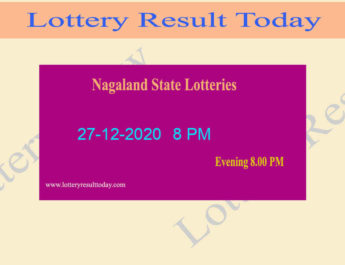 Nagaland State Lottery Sambad Result 27.12.2020 Live @ 8 PM
