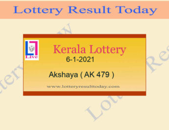 Akshaya AK 479 Lottery Result 6.1.2021 Today Live
