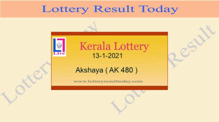 Akshaya AK 480 Lottery Result 13.1.2021 Today Live