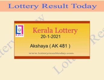 Akshaya AK 481 Lottery Result 20.1.2021 Today Live