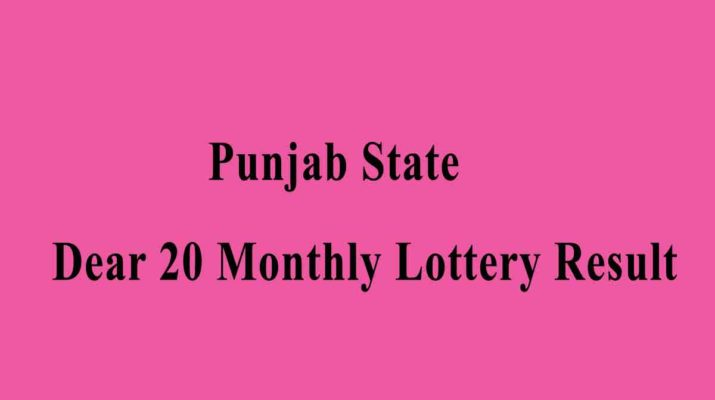 Punjab State Dear 20 Monthly Lottery Result