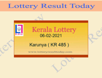 06.02.2021 Karunya Lottery Result KR 485 - Kerala Lottery {Live @ 3PM}