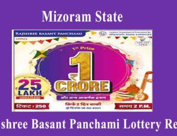 Mizoram Rajshree Basant Panchami Lottery Result