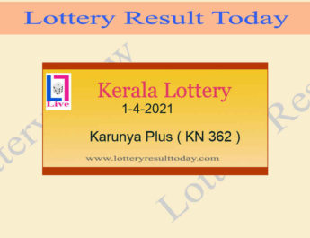 1-4-2021 Karunya Plus Lottery Result KN 362 Live @ 3PM