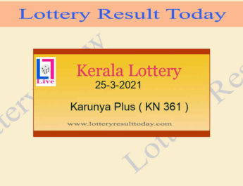 25-3-2021 Karunya Plus Lottery Result KN 361 Live @ 3PM