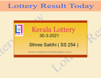 30-3-2021 Sthree Sakthi Lottery Result SS 254