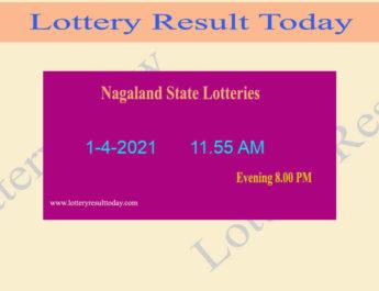 Nagaland State Lottery Sambad (11.55 AM) Result 1.4.2021 Live