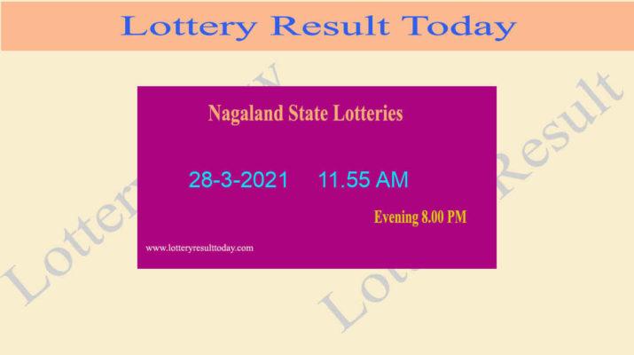 Nagaland State Lottery Sambad (11.55 AM) Result 28.3.2021 Live