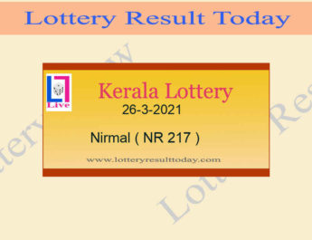 Nirmal NR 217 Lottery Result 26.3.2021 Live*