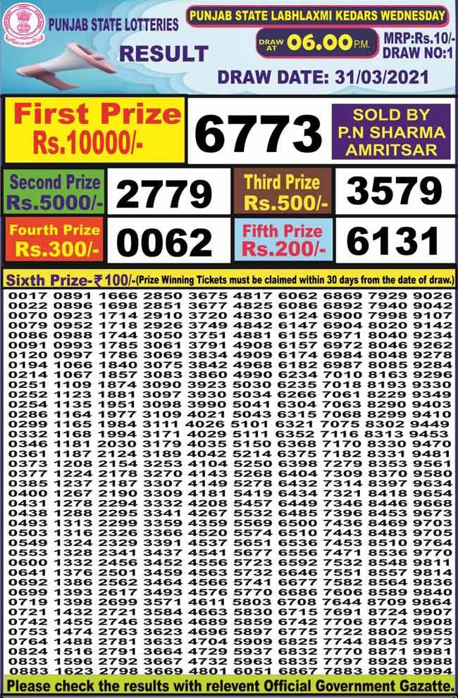 Punjab State Dear Labhlaxmi Lottery Result 31.3.2021