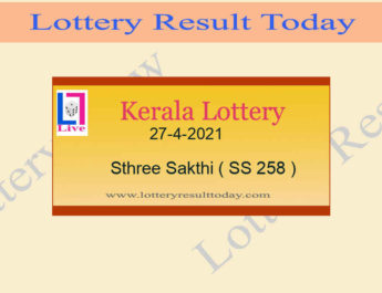 27-4-2021 Sthree Sakthi Lottery Result SS 258