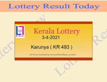3.4.2021 Karunya Lottery Result KR 493 - Kerala Lottery {Live @ 3PM}