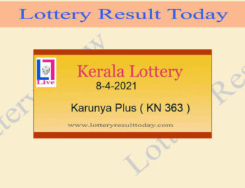 8-4-2021 Karunya Plus Lottery Result KN 363 Live @ 3PM