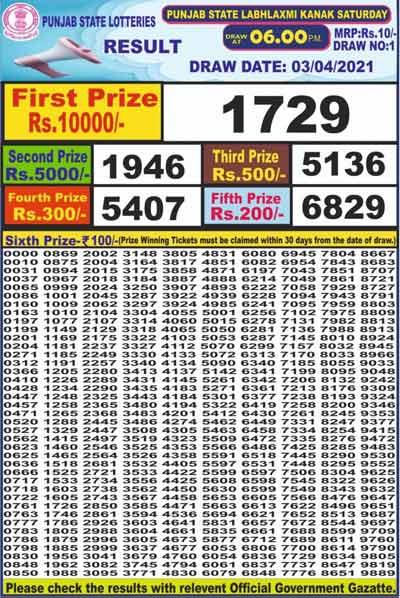 Punjab dear labhlaxmi result 6 pm 3.4.2021