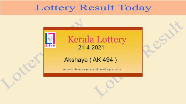 Akshaya AK 494 Lottery Result 21.4.2021 Today Live